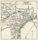 VARANASI. Benares city plan.Ganges temples cantonment. India 1965 old map